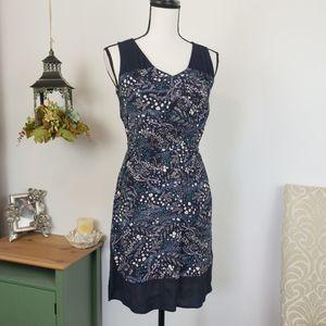 LOFT Floral Tie Waist Sleeveless Sheath Dress XS